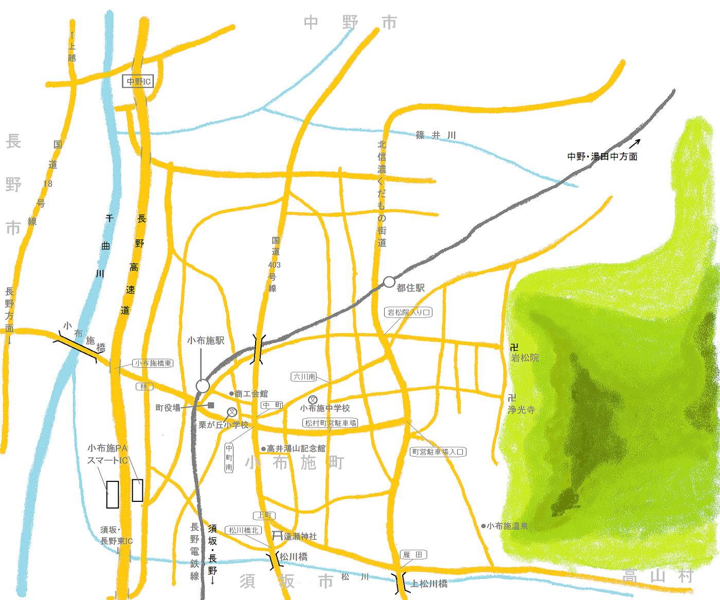 小布施町の絵地図